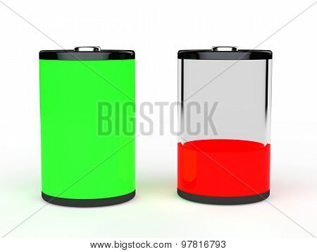 3d green full and red empty battery
