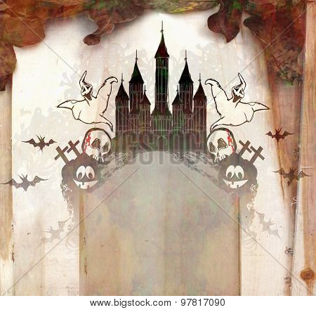 Halloween  Illustration With A Ghost In Front Of A Haunted House.