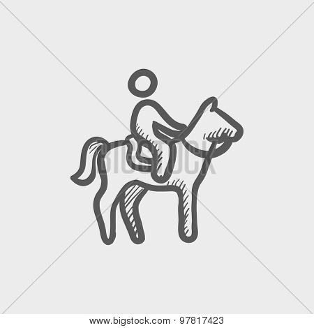 Horse riding sketch icon for web and mobile. Hand drawn vector dark gray icon on light gray background.