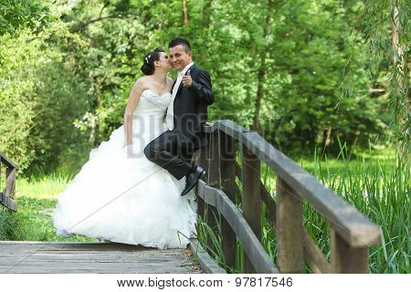 Bride And Groom On Wooden Bridge In Nature