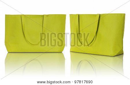 Yellow Shopping Fabric Bag On White Background