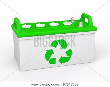3d acid battery with recycle symbol