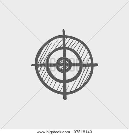 Cross hair target sketch icon for web and mobile. Hand drawn vector dark gray icon on light gray background.