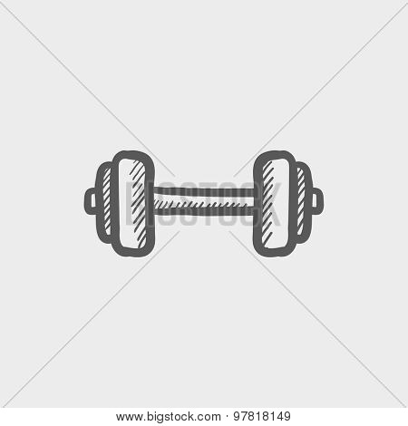 Dumbbell sketch icon for web and mobile. Hand drawn vector dark gray icon on light gray background.