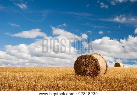 Summer Field with bale of straw