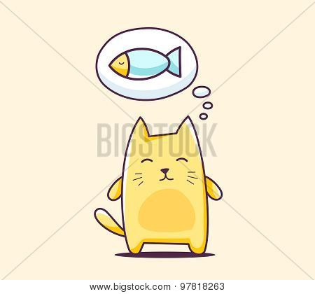 Vector Illustration Of Color Character Cat With Bubble On Yellow Background.