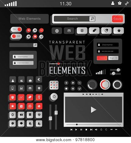 Vector Web Elements, Buttons and Labels. Site Navigation.
