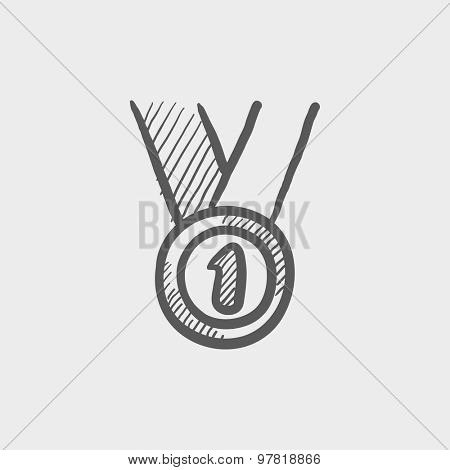 First place medal sketch icon for web and mobile. Hand drawn vector dark grey icon on light grey background.