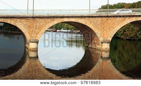 Triptych of a bridge in Auxerre (Yonne France)