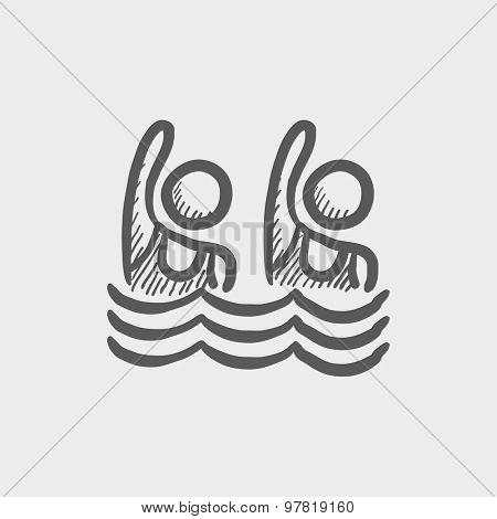 Two boys swimmer sketch icon for web and mobile. Hand drawn vector dark gray icon on light gray background.