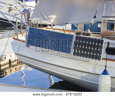 Solar panels on a yacht