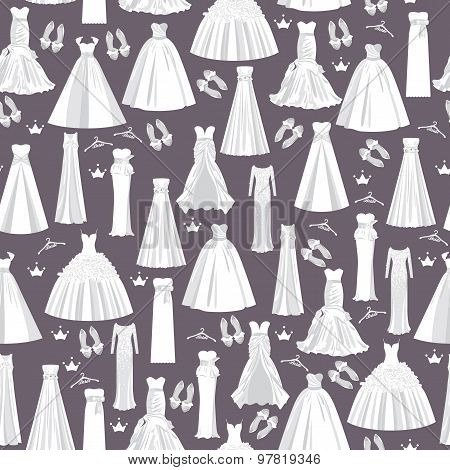 Wedding pattern with white dresses for bride on dark background.