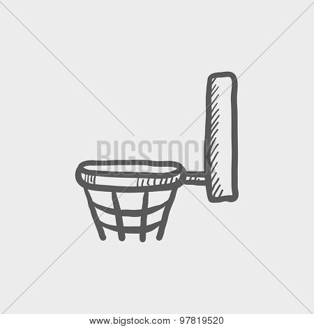 Basketball hoop sketch icon for web and mobile. Hand drawn vector dark gray icon on light gray background.