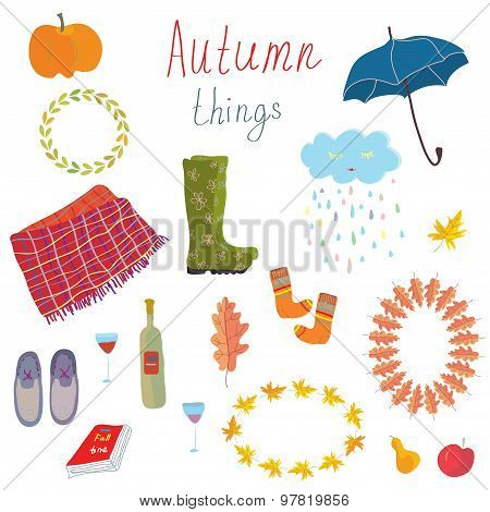 Autumn Icons Set Funny Design