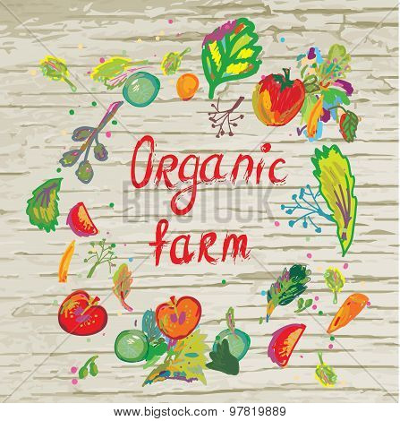 Organic Farm Banner With Frame And Texture - Vector