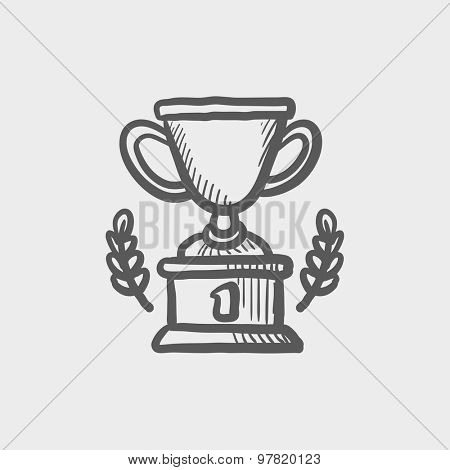 Trophy of first place winner sketch icon for web and mobile. Hand drawn vector dark grey icon on light grey background.