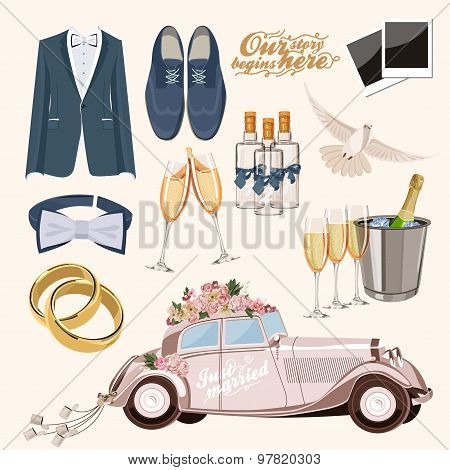 Vector vintage set of decorative wedding elements