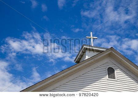 Wooden Cross And Blue Sky