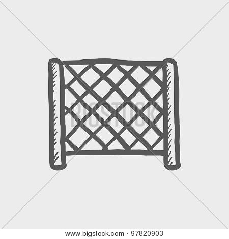 Ice hockey goal net sketch icon for web and mobile. Hand drawn vector dark grey icon on light grey background.