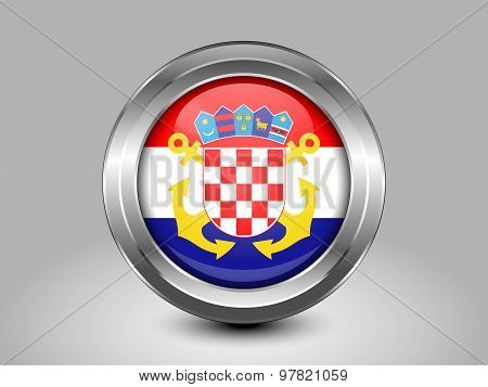 Flag Of Croatia Naval Ensign. Metal Round Icon
