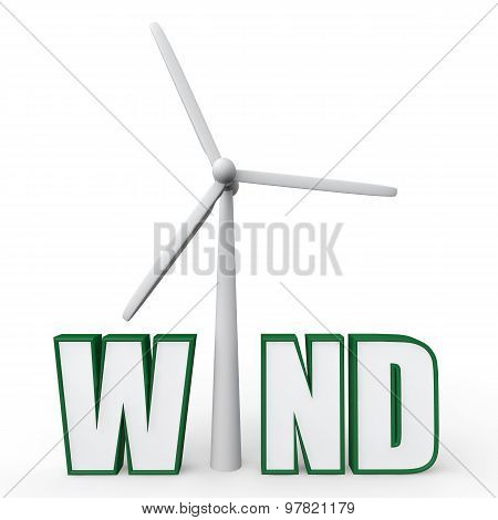 3d wind turbine in word