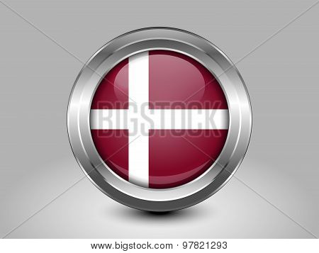 Flag Of Denmark Naval Ensign. Metal Round Icon