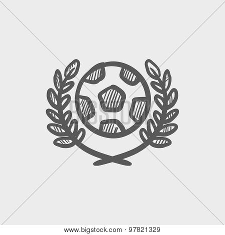 Sports soccer logo badges sketch icon for web and mobile. Hand drawn vector dark grey icon on light grey background.