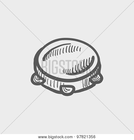 Tambourine sketch icon for web and mobile. Hand drawn vector dark grey icon on light grey background.
