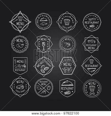Vintage Set Of Restaurant Signs, Symbols, Logo Elements And Icons