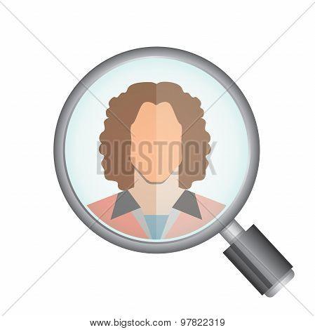 magnifier glass and a woman