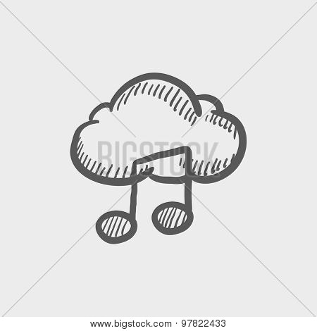 Cloud melody sketch icon for web and mobile. Hand drawn vector dark grey icon on light grey background.