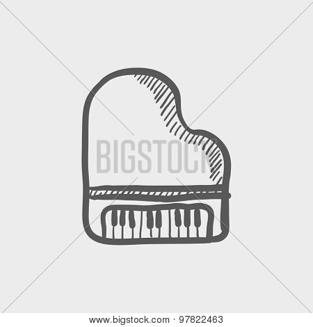 Piano sketch icon for web and mobile. Hand drawn vector dark grey icon on light grey background.