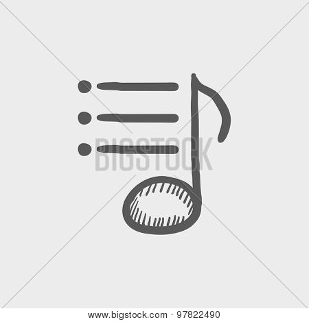Musical note with bar sketch icon for web and mobile. Hand drawn vector dark grey icon on light grey background.