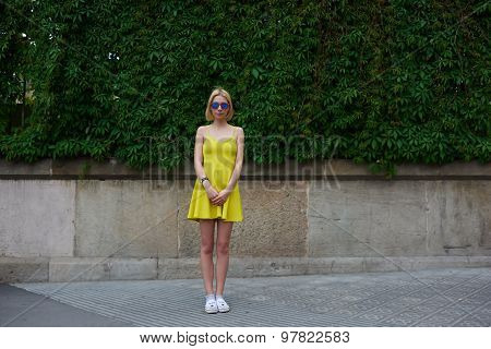 Portrait of lovely young woman in summer bright dress posing on nature fence background in city