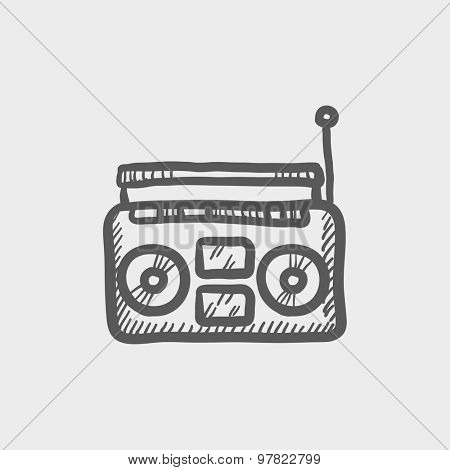 Radio cassette player sketch icon for web and mobile. Hand drawn vector dark grey icon on light grey background.