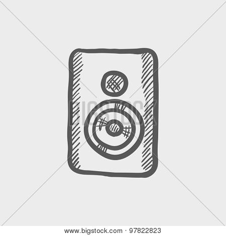 Two way audio speaker sketch icon for web and mobile. Hand drawn vector dark grey icon on light grey background.