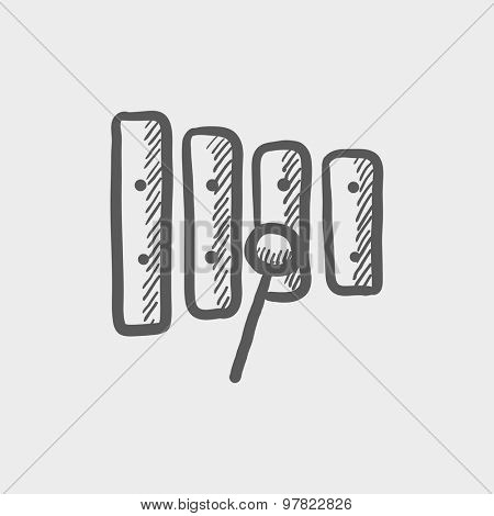 Xylophone with mallet sketch icon for web and mobile. Hand drawn vector dark grey icon on light grey background.