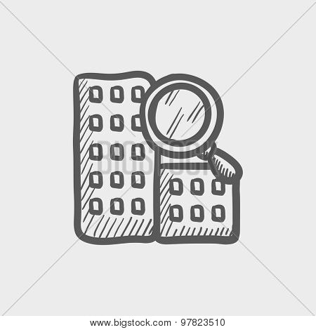 Search building sketch icon for web and mobile. Hand drawn vector dark grey icon on light grey background.