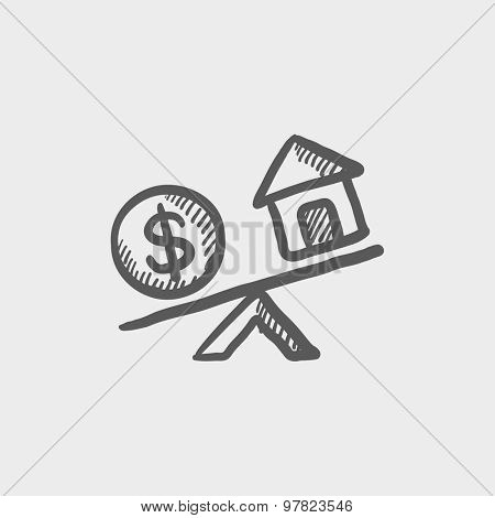 Compare or exchange home to money sketch icon for web and mobile. Hand drawn vector dark grey icon on light grey background.