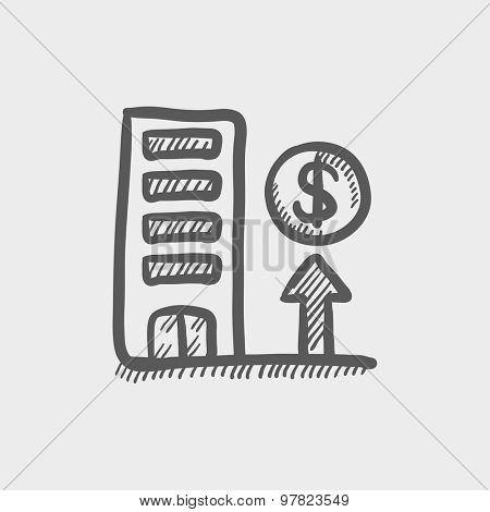 Expensive building sketch icon for web and mobile. Hand drawn vector dark grey icon on light grey background.