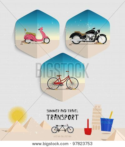 Vector summer and travel transport icons set. Flat style. Moped, motorcycle, bicycle logo.