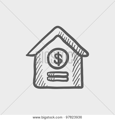 Dollar house sketch icon for web and mobile. Hand drawn vector dark grey icon on light grey background.