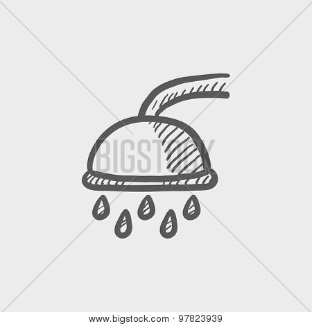 Shower sketch icon for web and mobile. Hand drawn vector dark grey icon on light grey background.