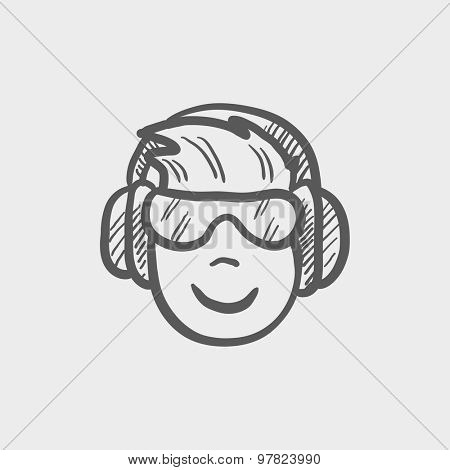 Head with headphone and glasses sketch icon for web and mobile. Hand drawn vector dark grey icon on light grey background.