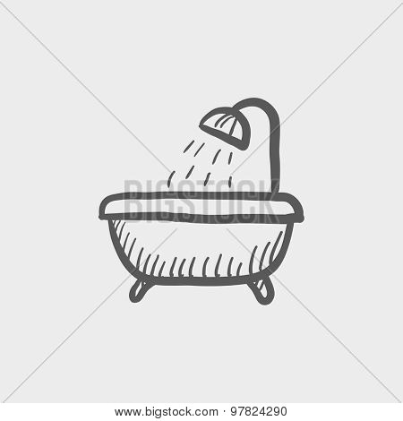 Bathtub with shower sketch icon for web and mobile. Hand drawn vector dark grey icon on light grey background.