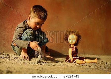 alone sad child on a street