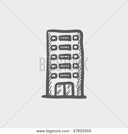 Office building sketch icon for web and mobile. Hand drawn vector dark grey icon on light grey background.