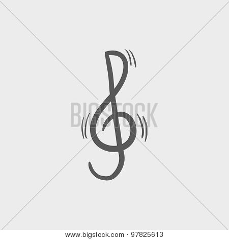 G-clef sketch icon for web and mobile. Hand drawn vector dark grey icon on light grey background.