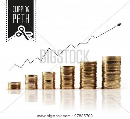 Financial rise with clipping path