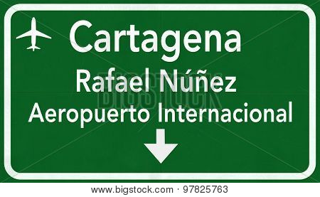 Cartagena Colombia International Airport Highway Sign